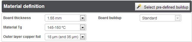 PCB Calculator - Material definition