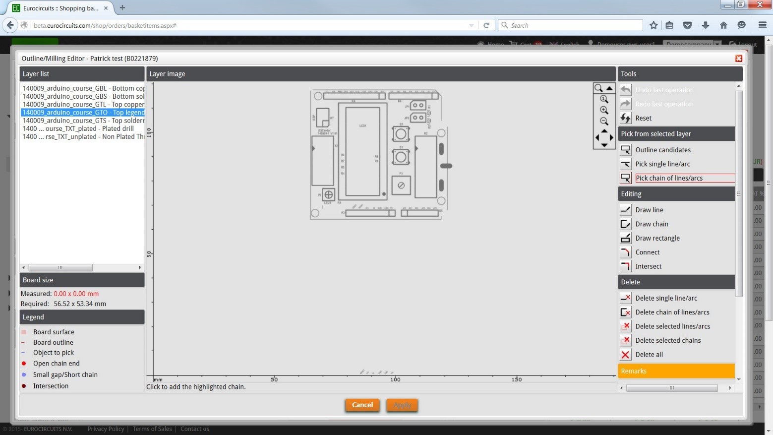 PCB Solver – Outline/Milling Editor – Eurocircuits