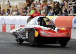 The H2.Zero , #612, a hydrogen UrbanConcept racing for team Green Team Twente from University Of Twente, Enschede, Netherlands, races on the track during Make the Future London 2016 at the Queen Elizabeth Olympic Park, Sunday, July 3, 2016 in London, UK. Today marks the conclusion of the very first Drivers' World Championships, as a head to head race against the 2016 UrbanConcept winners from North America, Asia and Europe to find the quickest and most energy-efficient driver. (Jeff Moore for Shell)