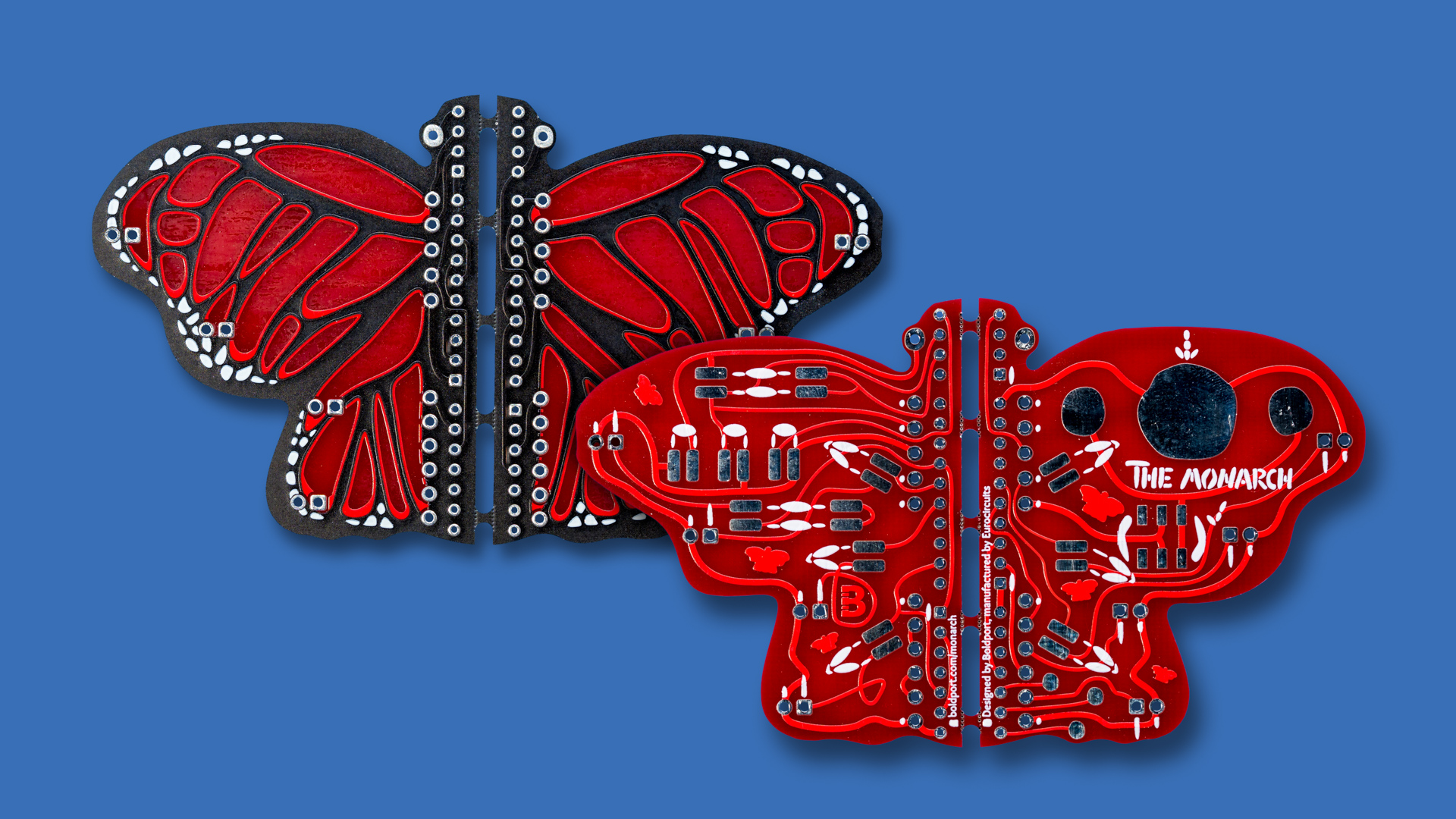Our most recent collaboration, The Monarch where we use two soldermask colours (black and red) and a unique physical construction.