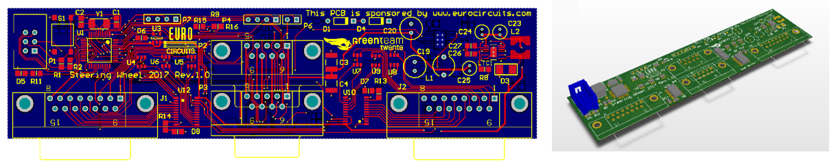 2D- and 3D-view of the steering wheel PCB