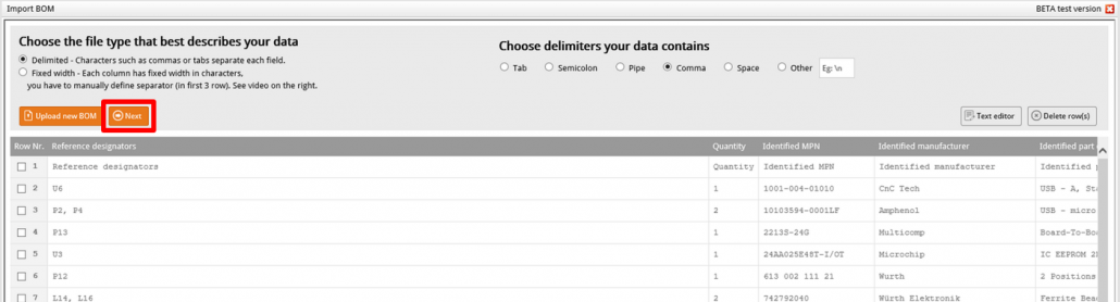 Import BOM initial data clipped - web