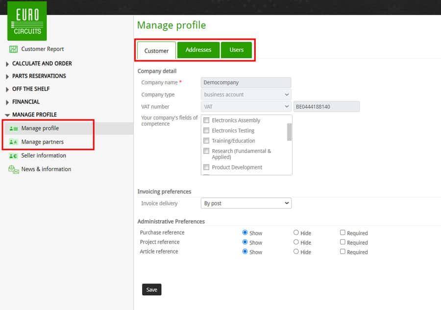 Manage Customer Profile