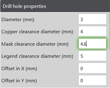 Panel Editor Add Drill Hole and Clearances