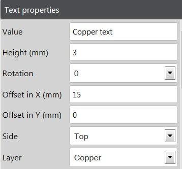 Panel Editor Copper Text Properties