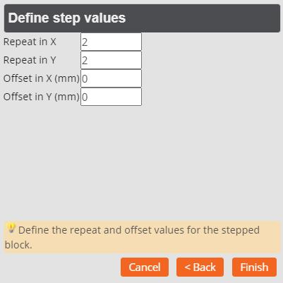 Panel Editor Define Step Values for Block