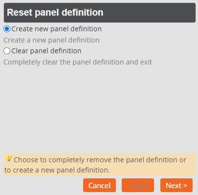 Panel Editor - Reset Panel Definition