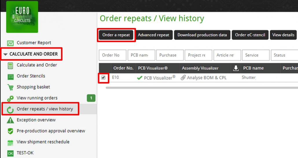 Repeat order select - web