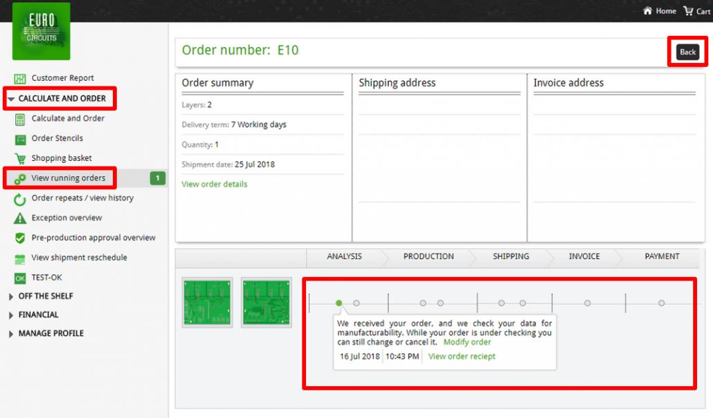 Running Order history window - web