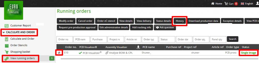 Running order status - web
