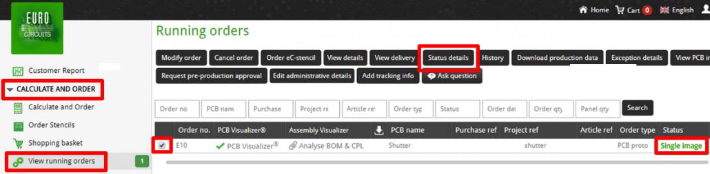 Status details selection - web