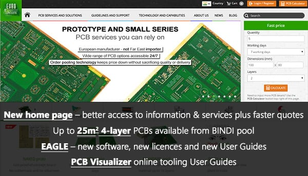 Eurocircuits Technical Update – new home page, new service, EAGLE