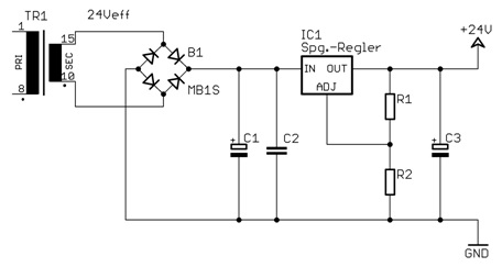 Fig. 1: Linear regulated 24V power supply