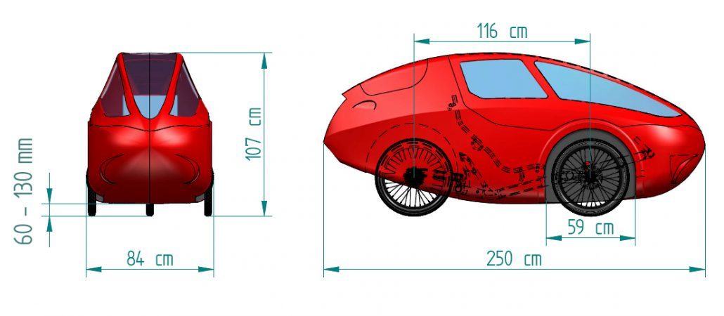eCvelo Challenger dimensions