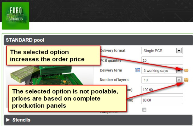 Smart menu indicating price influence of options