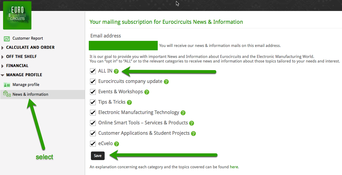 news and informations preferences